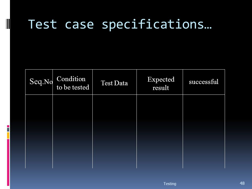 Test case specifications… Testing 48 Seq. No Condition to be tested Test Data Expected result successful