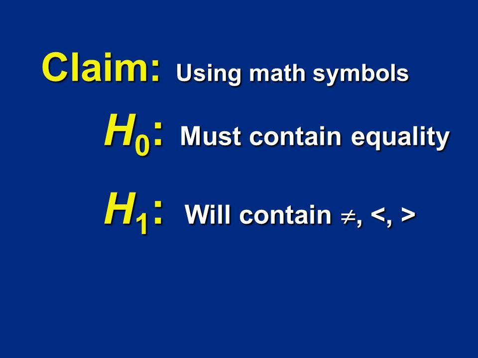 H 0 : Must contain equality H 0 : Must contain equality H 1 : Will contain, H 1 : Will contain, Claim: Using math symbols