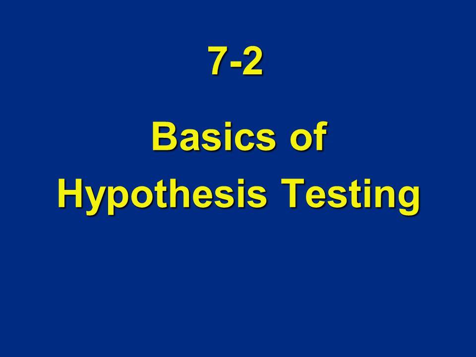 7-2 Basics of Hypothesis Testing