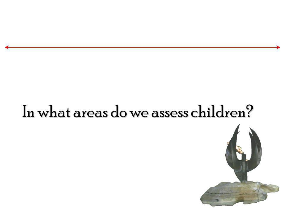 In what areas do we assess children?