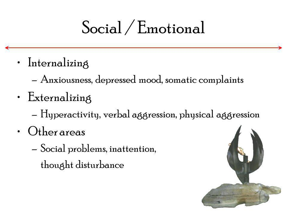 Social / Emotional Internalizing –Anxiousness, depressed mood, somatic complaints Externalizing –Hyperactivity, verbal aggression, physical aggression
