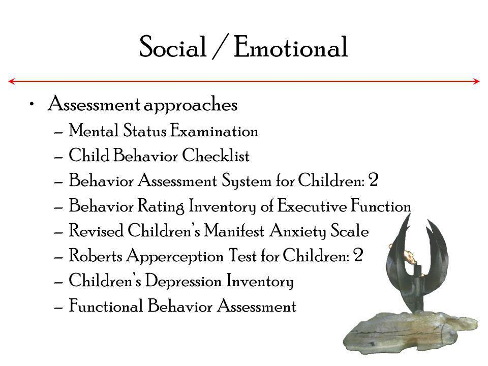Social / Emotional Assessment approaches –Mental Status Examination –Child Behavior Checklist –Behavior Assessment System for Children: 2 –Behavior Ra