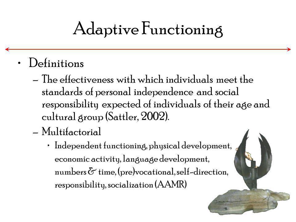 Adaptive Functioning Definitions –The effectiveness with which individuals meet the standards of personal independence and social responsibility expec