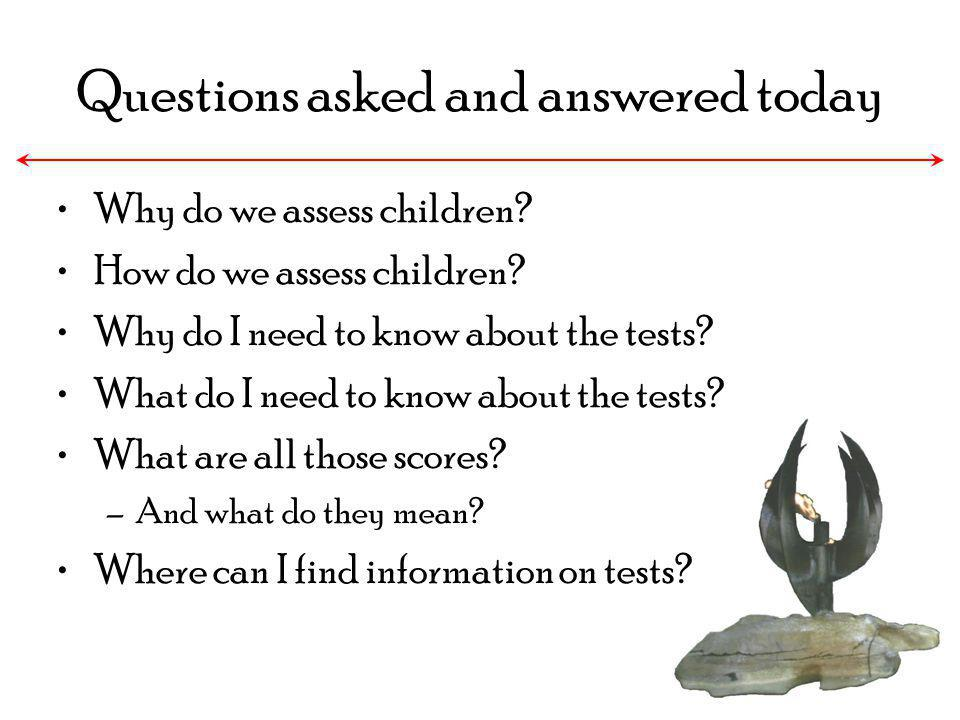 Why do we assess children? How do we assess children? Why do I need to know about the tests? What do I need to know about the tests? What are all thos