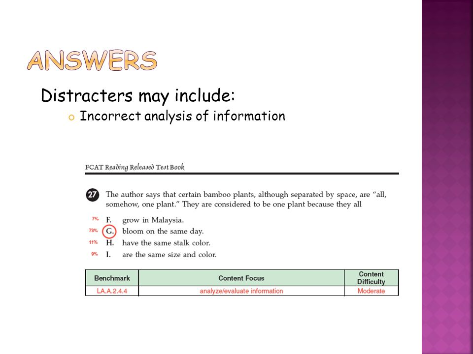 Distracters may include: Incorrect analysis of information