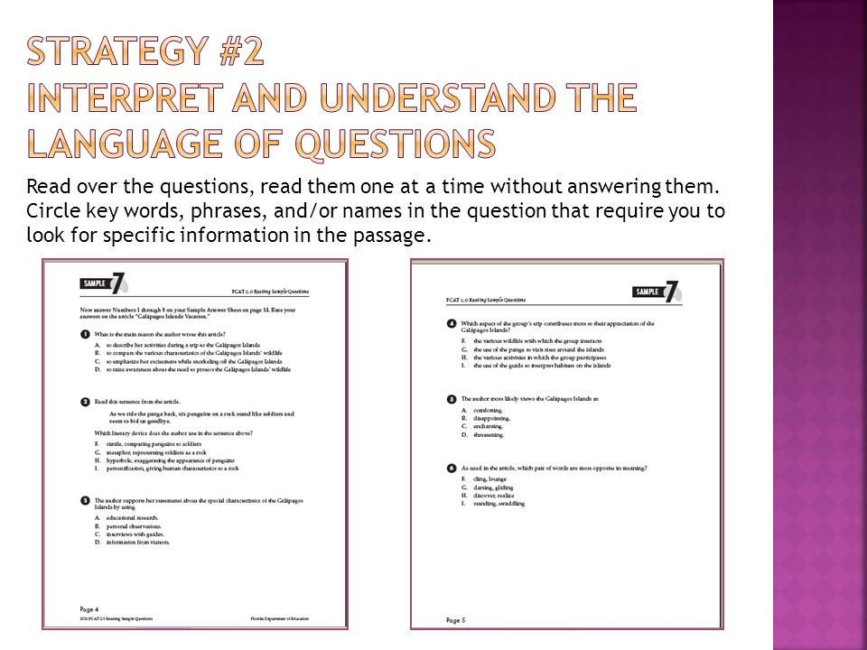 Students understanding and recall can be shaped by the types of questions to which they become accustomed (Duke and Pearson, 2002) Students generation of their own questions about text improves overall comprehension (Yopp, 1988; Raphael and Pearson, 1985)