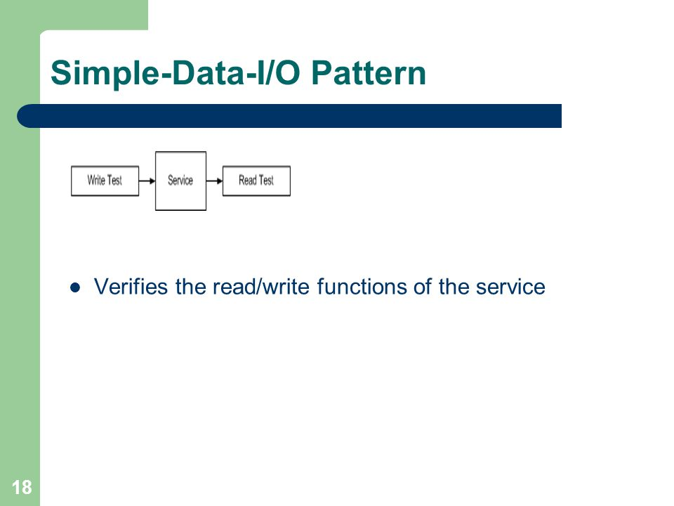 18 Simple-Data-I/O Pattern Verifies the read/write functions of the service