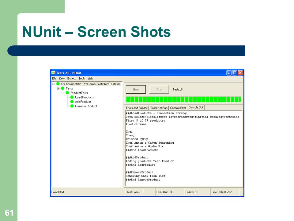61 NUnit – Screen Shots