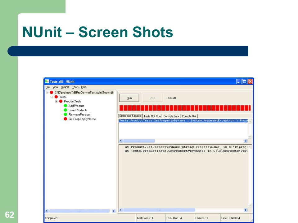 62 NUnit – Screen Shots