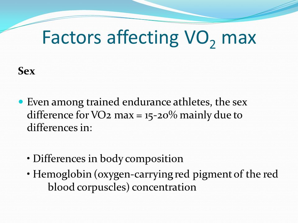 Factors affecting VO 2 max Sex Even among trained endurance athletes, the sex difference for VO2 max = 15-20% mainly due to differences in: Difference