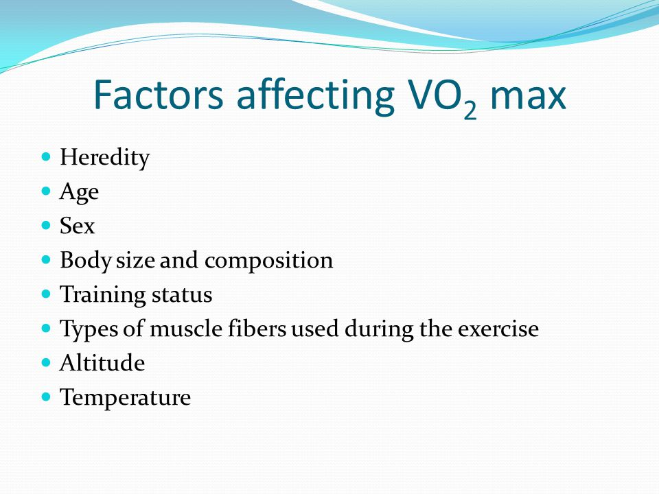 Factors affecting VO 2 max Heredity Age Sex Body size and composition Training status Types of muscle fibers used during the exercise Altitude Temperature