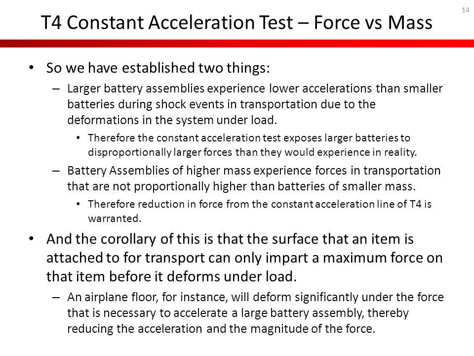 T4 Constant Acceleration Test – Force vs Mass So we have established two things: – Larger battery assemblies experience lower accelerations than small
