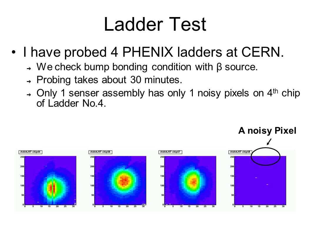 Ladder Test I have probed 4 PHENIX ladders at CERN.