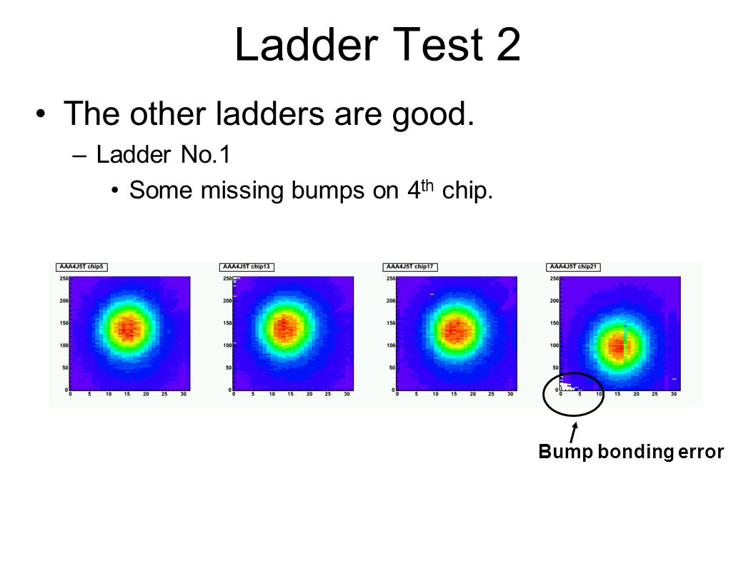 Ladder Test 2 The other ladders are good. –Ladder No.1 Some missing bumps on 4 th chip.