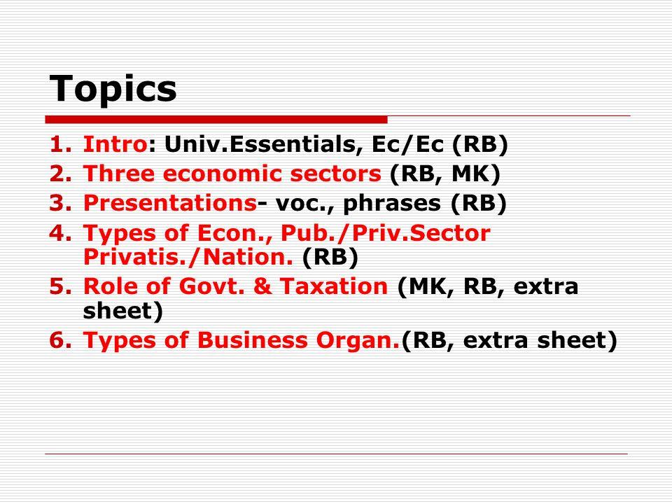 Topics 1.Intro: Univ.Essentials, Ec/Ec (RB) 2.Three economic sectors (RB, MK) 3.Presentations- voc., phrases (RB) 4.Types of Econ., Pub./Priv.Sector Privatis./Nation.