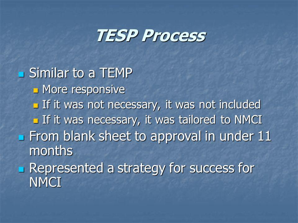 TESP Process Similar to a TEMP Similar to a TEMP More responsive More responsive If it was not necessary, it was not included If it was not necessary,
