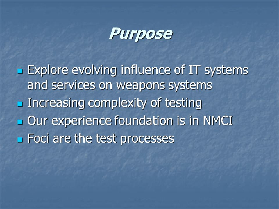 Test Issues NMCI equal to or better than legacy networks NMCI equal to or better than legacy networks Critical path processes Critical path processes Seat cutover Seat cutover Legacy applications Legacy applications SLAs to COIs not a reversible function SLAs to COIs not a reversible function Operationalizing the metrics Operationalizing the metrics Early and combined CT/OT to minimize risk Early and combined CT/OT to minimize risk