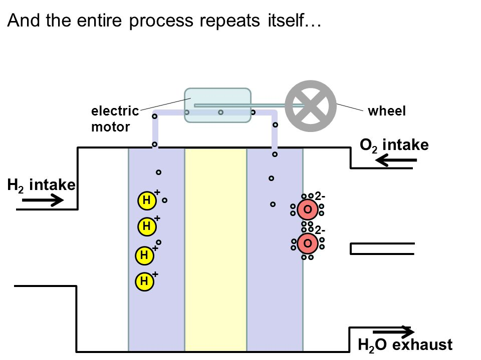 OO H + H + H + H + 2- H 2 intake O 2 intake electric motor wheel H 2 O exhaust And the entire process repeats itself…