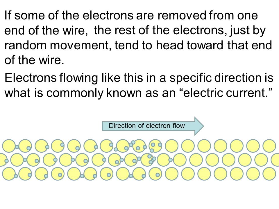 If some of the electrons are removed from one end of the wire, the rest of the electrons, just by random movement, tend to head toward that end of the