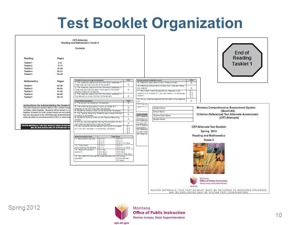 10 Test Booklet Organization Spring 2012