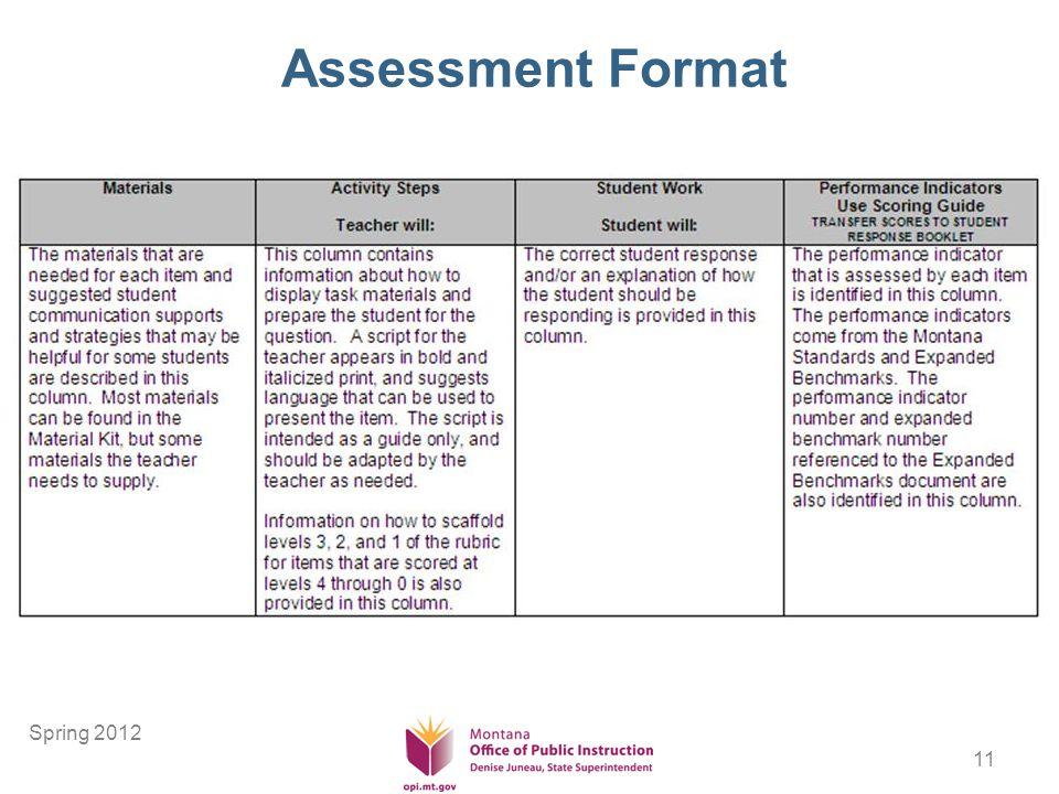 11 Assessment Format Spring 2012