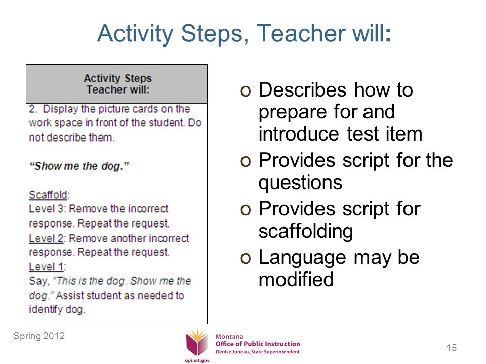 15 Activity Steps, Teacher will: oDescribes how to prepare for and introduce test item oProvides script for the questions oProvides script for scaffolding oLanguage may be modified Spring 2012