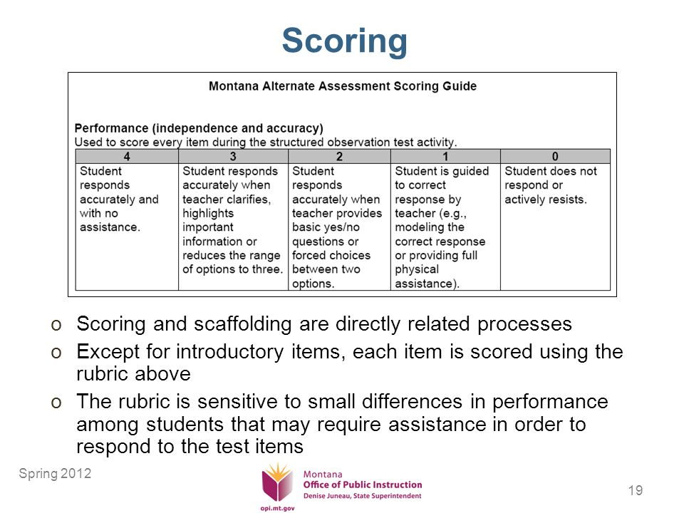 19 Scoring oScoring and scaffolding are directly related processes oExcept for introductory items, each item is scored using the rubric above oThe rubric is sensitive to small differences in performance among students that may require assistance in order to respond to the test items Spring 2012