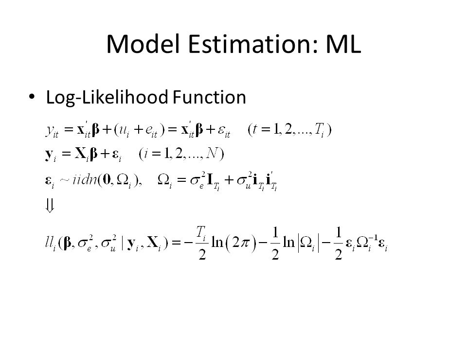 Model Estimation: ML Log-Likelihood Function