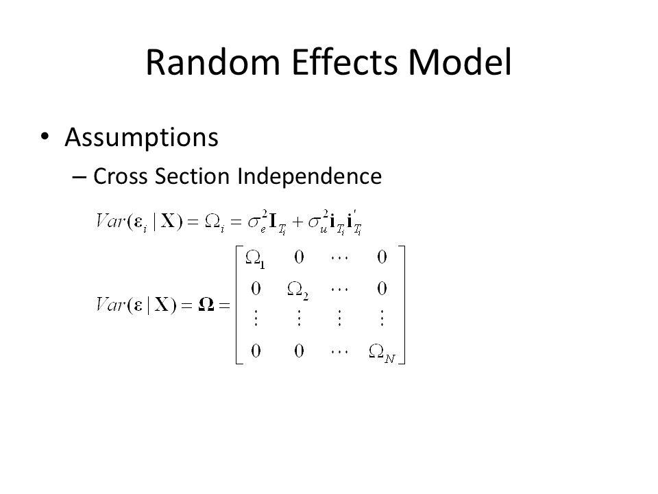 Random Effects Model Extensions – Weak Exogeneity – Heteroscedasticity and Autocorrelation – Cross Section Correlation