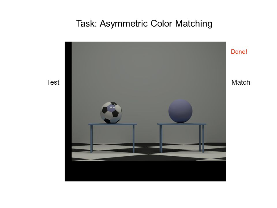 Task: Asymmetric Color Matching TestMatch Done!