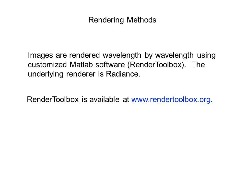 Rendering Methods Images are rendered wavelength by wavelength using customized Matlab software (RenderToolbox).