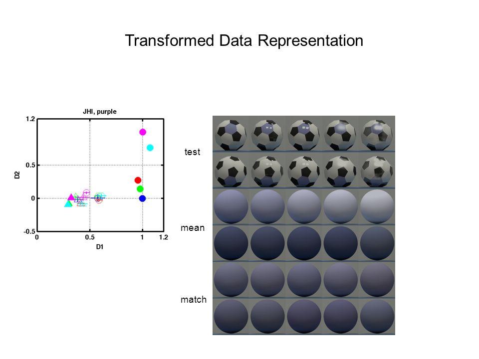 Transformed Data Representation test mean match