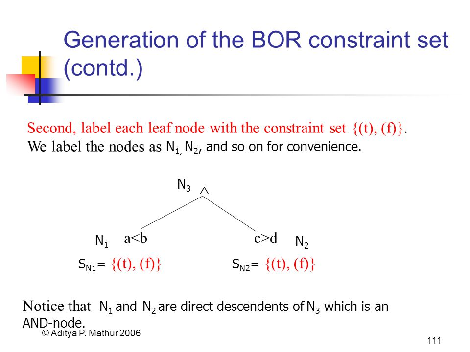 © Aditya P. Mathur 2006 111 Generation of the BOR constraint set (contd.) Second, label each leaf node with the constraint set {(t), (f)}. We label th