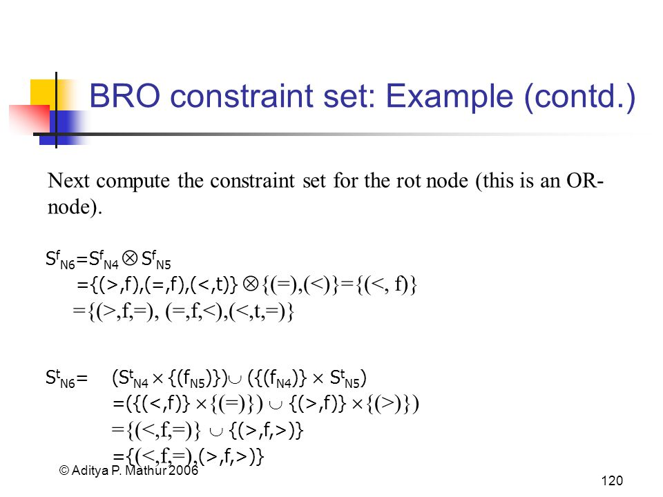 © Aditya P. Mathur 2006 120 BRO constraint set: Example (contd.) Next compute the constraint set for the rot node (this is an OR- node). S f N6 =S f N