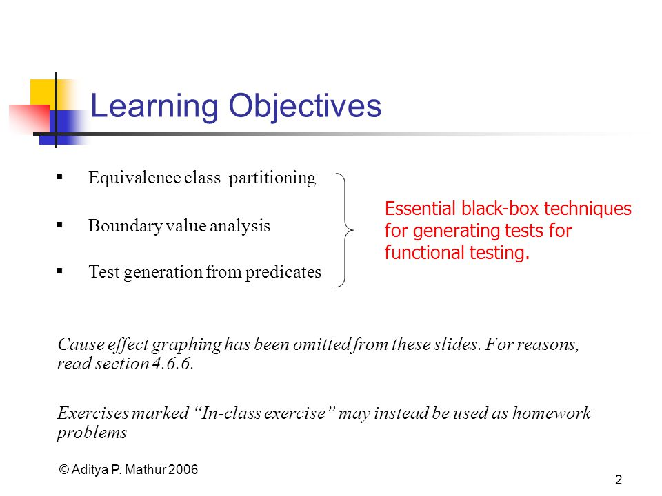 © Aditya P. Mathur 2006 2 Learning Objectives Cause effect graphing has been omitted from these slides. For reasons, read section 4.6.6. Test generati