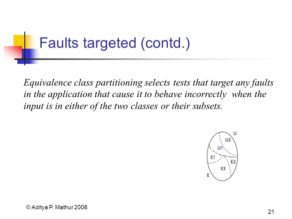 © Aditya P. Mathur 2006 21 Faults targeted (contd.) Equivalence class partitioning selects tests that target any faults in the application that cause