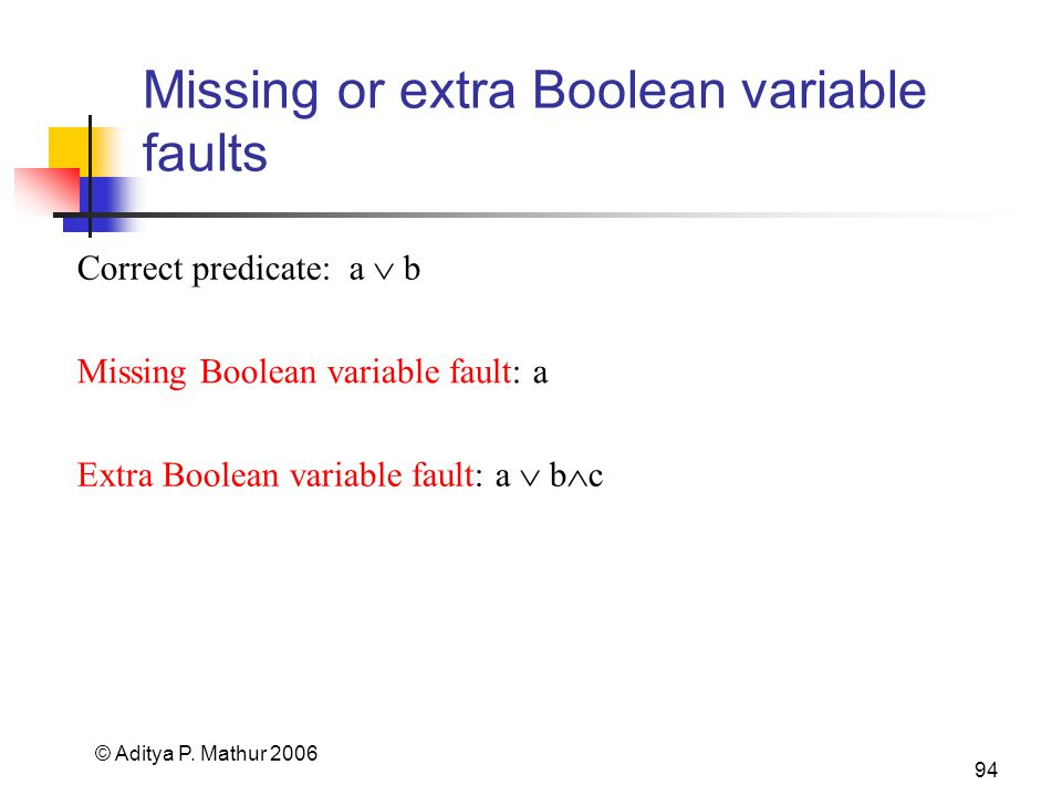 © Aditya P. Mathur 2006 94 Missing or extra Boolean variable faults Correct predicate: a b Extra Boolean variable fault: a b c Missing Boolean variabl