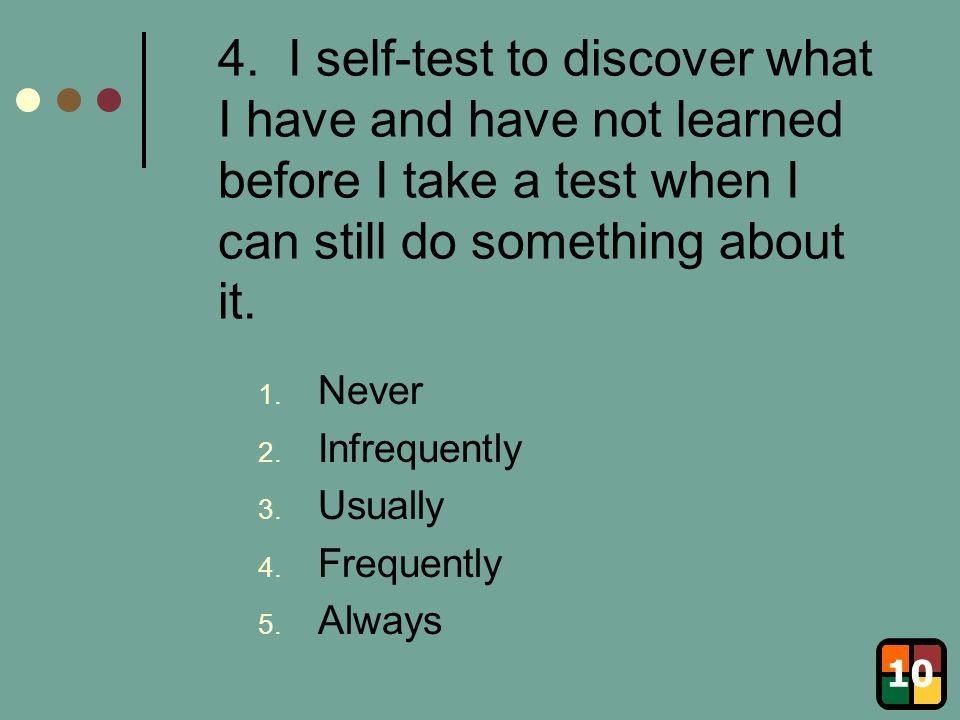 5.I make summary sheets of key points. 1. Never 2.