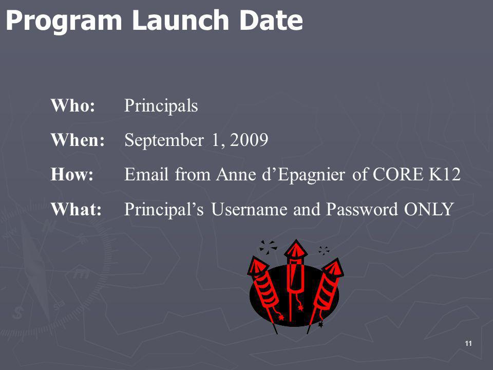 11 Who: Principals When: September 1, 2009 How: Email from Anne dEpagnier of CORE K12 What: Principals Username and Password ONLY Program Launch Date