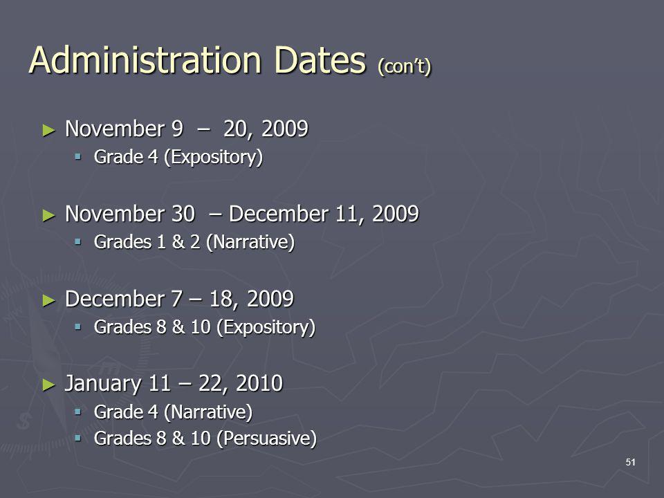 Administration Dates (cont) November 9 – 20, 2009 November 9 – 20, 2009 Grade 4 (Expository) Grade 4 (Expository) November 30 – December 11, 2009 November 30 – December 11, 2009 Grades 1 & 2 (Narrative) Grades 1 & 2 (Narrative) December 7 – 18, 2009 December 7 – 18, 2009 Grades 8 & 10 (Expository) Grades 8 & 10 (Expository) January 11 – 22, 2010 January 11 – 22, 2010 Grade 4 (Narrative) Grade 4 (Narrative) Grades 8 & 10 (Persuasive) Grades 8 & 10 (Persuasive) 51