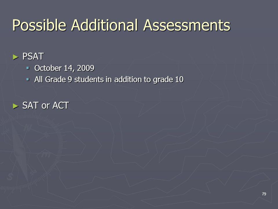 Possible Additional Assessments PSAT PSAT October 14, 2009 October 14, 2009 All Grade 9 students in addition to grade 10 All Grade 9 students in addition to grade 10 SAT or ACT SAT or ACT 79