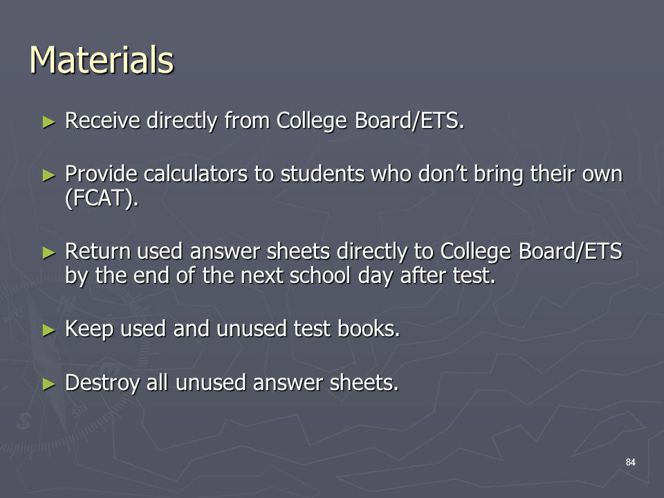 Materials Receive directly from College Board/ETS.