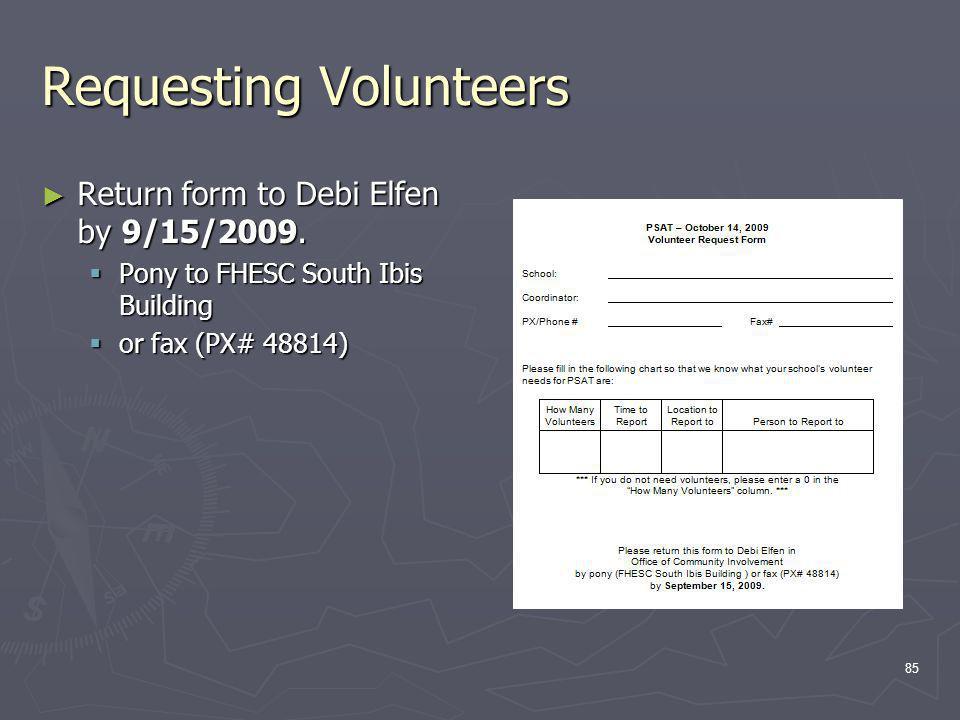 Requesting Volunteers Return form to Debi Elfen by 9/15/2009.