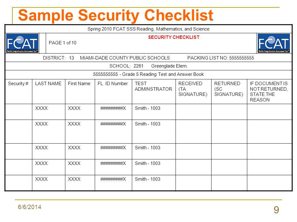 6/6/2014 9 Sample Security Checklist Spring 2010 FCAT SSS Reading, Mathematics, and Science SECURITY CHECKLIST PAGE 1 of 10 DISTRICT: 13 MIAMI-DADE COUNTY PUBLIC SCHOOLS PACKING LIST NO: 5555555555 SCHOOL: 2261 Greenglade Elem.
