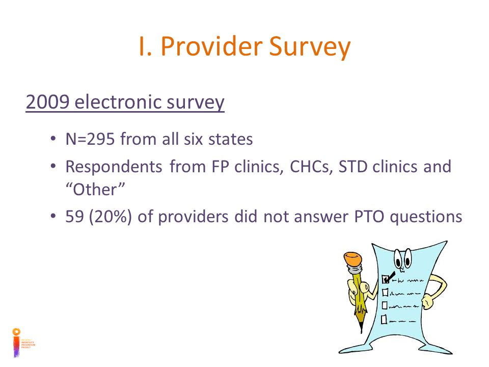 I. Provider Survey 2009 electronic survey N=295 from all six states Respondents from FP clinics, CHCs, STD clinics and Other 59 (20%) of providers did