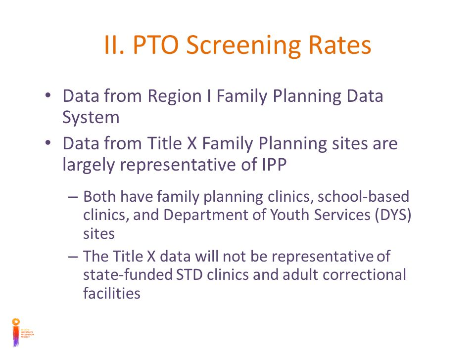 Comparison of CT screening in PTO and Pelvic Exam Visits In all states, chlamydia screening among pelvic exams was much more common than the CT screening among PTO visits Chlamydia screening rates among PTO visits were never higher than 30%, while screening rates among pelvic exams hovered around 50 -70%