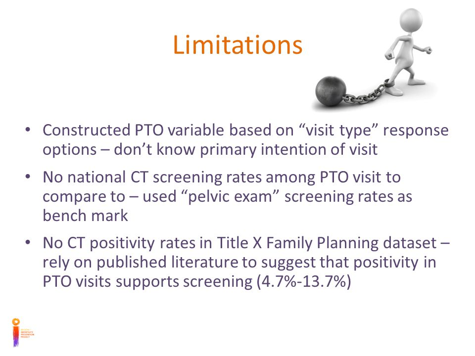 Limitations Constructed PTO variable based on visit type response options – dont know primary intention of visit No national CT screening rates among PTO visit to compare to – used pelvic exam screening rates as bench mark No CT positivity rates in Title X Family Planning dataset – rely on published literature to suggest that positivity in PTO visits supports screening (4.7%-13.7%)