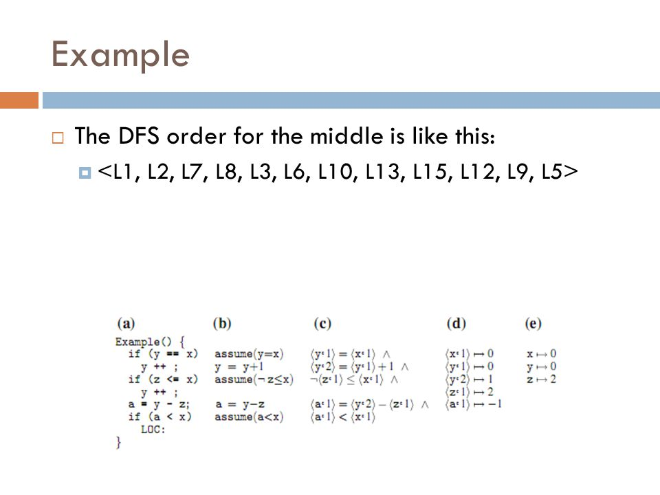Example The DFS order for the middle is like this: