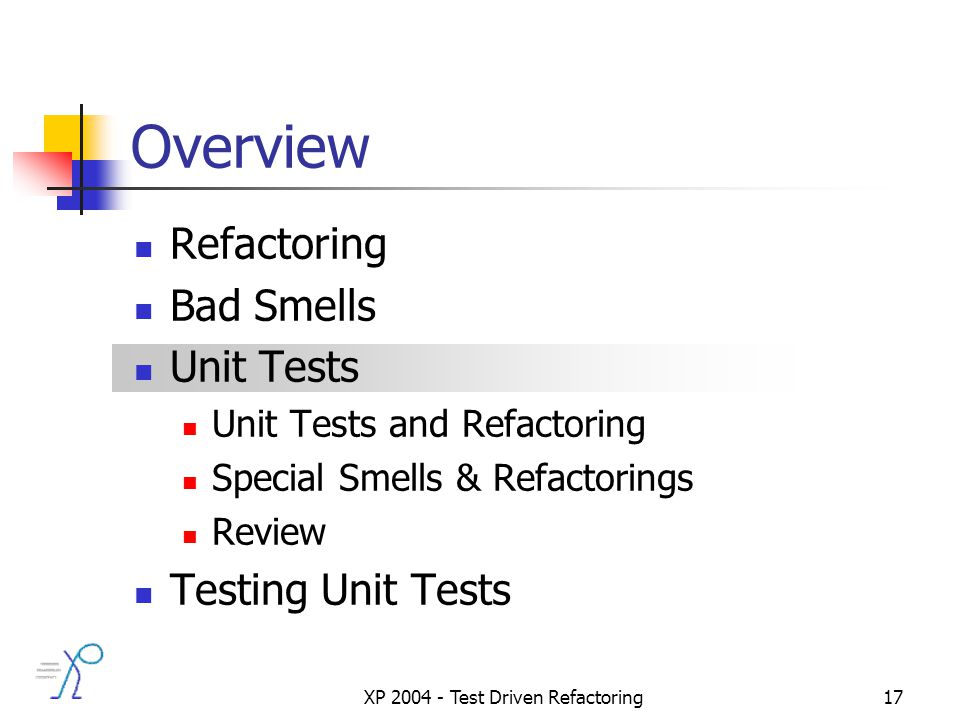 XP 2004 - Test Driven Refactoring17 Overview Refactoring Bad Smells Unit Tests Unit Tests and Refactoring Special Smells & Refactorings Review Testing Unit Tests