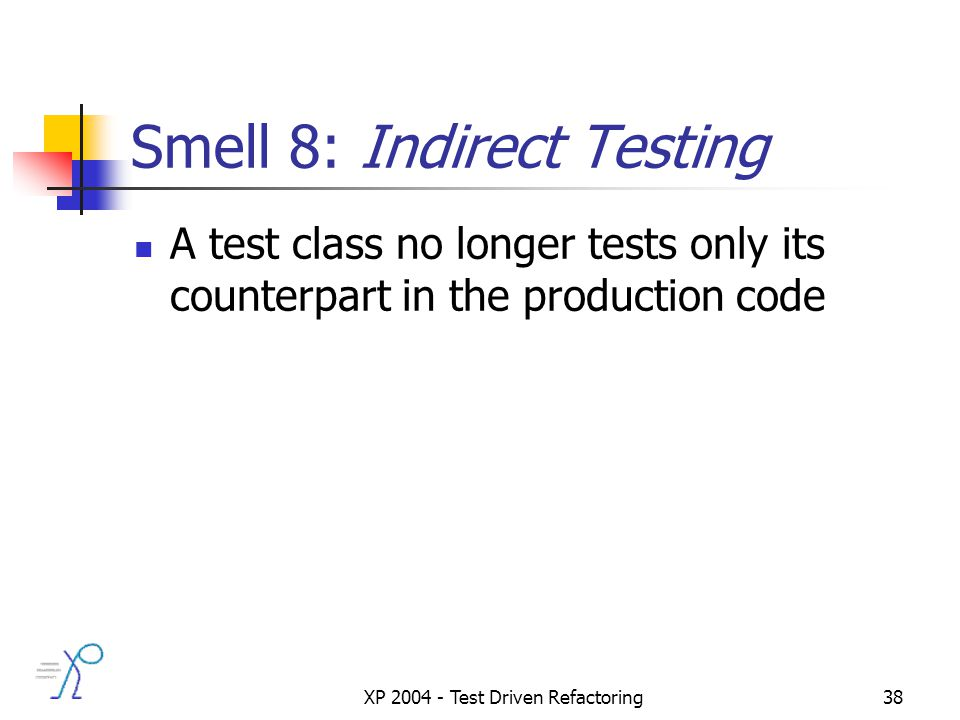 XP 2004 - Test Driven Refactoring38 Smell 8: Indirect Testing A test class no longer tests only its counterpart in the production code